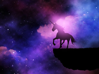 3D silhouette of a fantasy unicorn against a space night sky