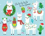 Fototapeta Fototapety na ścianę do pokoju dziecięcego - Cute llama and alpaca with Christmas holidays theme vector illustration. Llama wearing Santa hat and sweater, carrying Christmas gifts. Llama with Christmas wreath and light. Cactus with Santa hat.