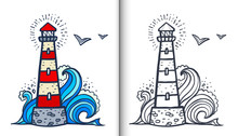 Doodle Style White And Red Lighthouse Vector Coloring Book Illustration With Colored Sample And Clear Version Isolated On White