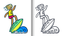 Vector Surfing Illustration With Surfer On Wave In Doodle Style. Coloring Book Pages With Clear Lineart And Colored Sample
