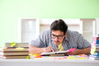 Student preparing for university exams with many conflicting pri