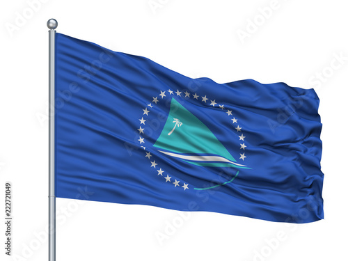 Fotografía  Pacific Comm Flag On Flagpole, Isolated On White Background, 3D Rendering