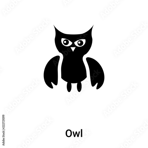 In de dag Uilen cartoon Owl icon vector isolated on white background, logo concept of Owl sign on transparent background, black filled symbol