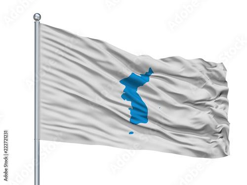 Fotografie, Obraz  Unification Korea Flag On Flagpole, Isolated On White Background, 3D Rendering