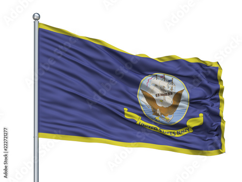 Fotografía  United States Navy Official Specifications Flag On Flagpole, Isolated On White B