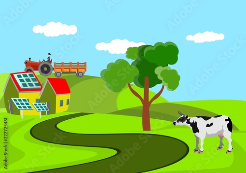 Cow standing at the road, countryside landscape vector illustration