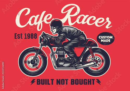 cafe racer t-shirt design in vintage style Fotobehang