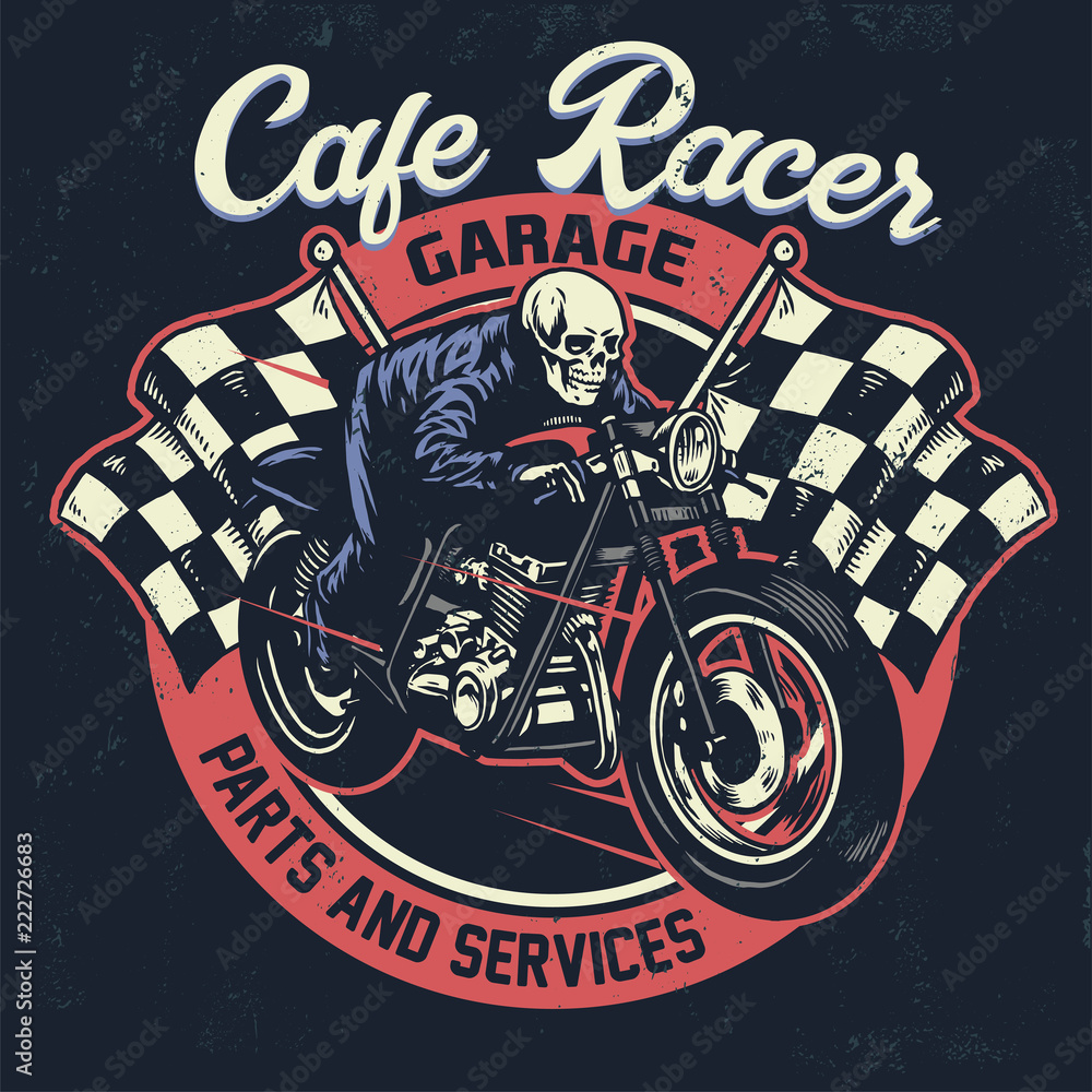 Photo   Art Print skull riding cafe racer motorcycle in textured vintage  design  dcfe64b2a8d3