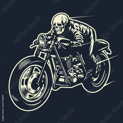 skull ride the cafe racer motorcycle Fototapeta