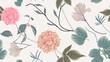 Botanical seamless pattern, dahlia, magnolia flowers and leaves on light grey background