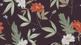 Botanical seamless pattern, red and white paenia lactiflora flowers and leaves on dark pink background - 222731885