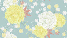 Botanical Seamless Pattern, Yellow And White Dahlia Flowers And Leaves On Blue Background