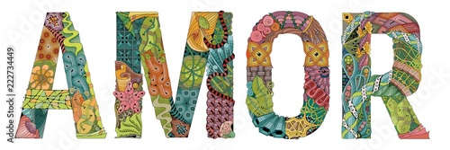 Photo Word AMOR, love in Portuguese. Vector decorative zentangle object