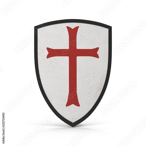 Fotografía Knights Templar Shield on white. Front view. 3D illustration