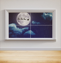 Fantasy Landscape At Night Indoors Looking Out A Window With A Silhouette Of Santa And His Reindeer's Flying In Front Of The Moon, 3d Render.