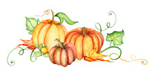 Watercolor Pumpkin And Autumn ...