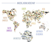 Flat World Flora And Fauna Map...
