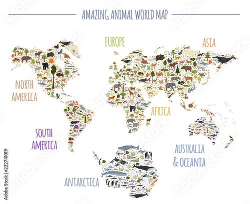 Elementy konstruktora mapy i flory płaskiego świata. Zwierzęta, ptaki i życie morskie na białym tle duży zestaw. Zbuduj własną kolekcję infografik geograficznych