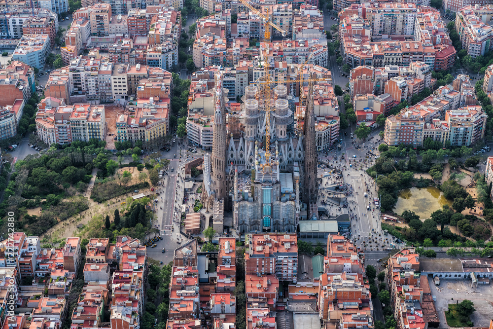 Photo Art Print Barcelona Aerial View Eixample Residencial