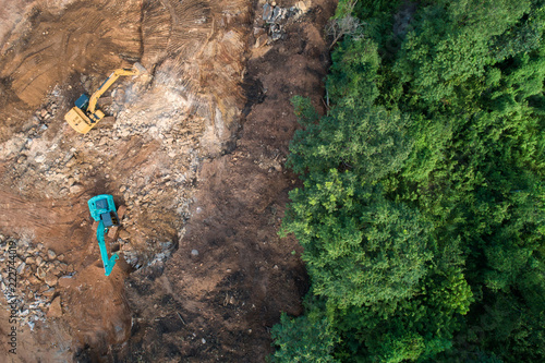 Fotografija  Deforestation aerial photo. Rainforest jungle in Borneo