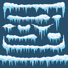 Cartoon Snow Icicles. Icicle Ice With Snowcap On Top. Winter Snowing Borders For Christmas Cards Design. Frost Frames Vector Set