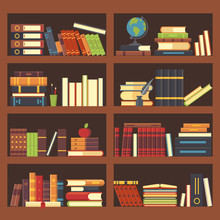 Books In Library Bookcase. Encyclopedia Book At Bookshelf. Pile Textbooks And Magazines At Bookshelves Vector Background Illustration