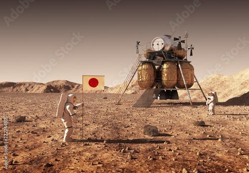 Obraz Astronauts Set An Japanese Flag On The Planet Mars - fototapety do salonu