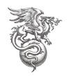 Leinwanddruck Bild - Чёрно-белая иллюстрация, рисунок тушью, крылатый дракон на шаре.