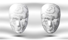 Two Marble Heads, On A Light Background. Stone Masks. Carnival Inventory. Vector Illustration