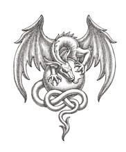 Рисунок тушью, крылатый дракон на шаре.
