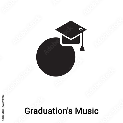 Graduation's Music icon vector isolated on white background