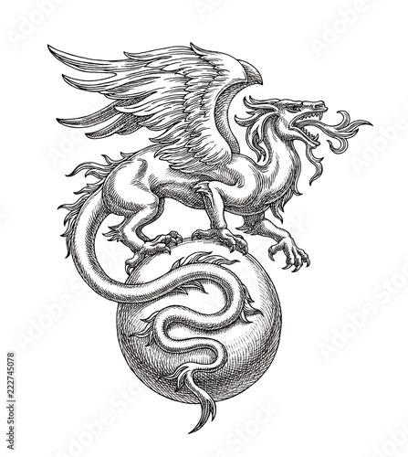 Naklejka premium Czarno-biały ilustracja, rysunek tuszem, skrzydlaty smok na piłkę.