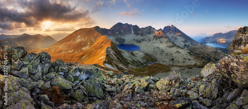 In de dag Khaki Panorama of mountain landscape at summer in Tatras at sunset in Slovakia