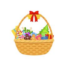 Christmas Basket. Vector