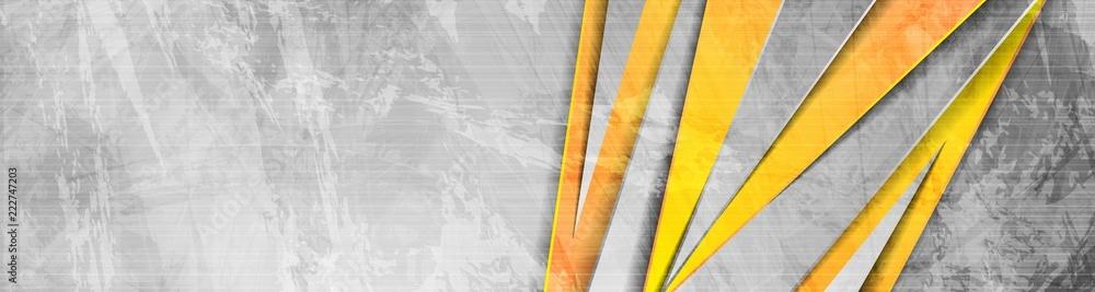 Fototapeta Orange grey abstract grunge corporate banner
