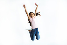 The Happy Girl Jumping On The ...