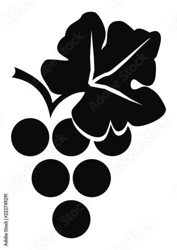 grape wine, black silhouette, vector icon, isolated illustration Fototapete
