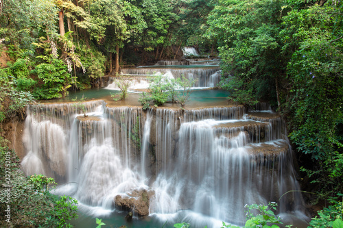 Poster Watervallen Beautiful Huai Mae Khamin Waterfall In the forest of western Thailand.
