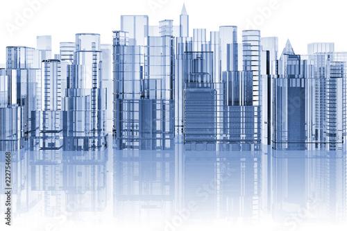 Fotografie, Obraz  skyline città su sfondo bianco con riflesso..