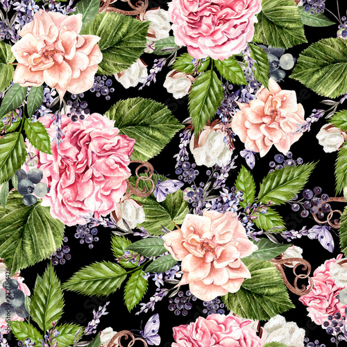 Beautiful watercolor seamless pattern with flowers of rose, peony, lavender and cotton.