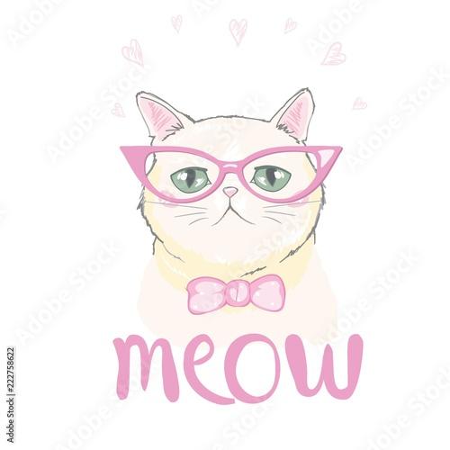Wektor ładny kot. Dziecko ilustracja do szkolnych książek i więcej. Słowo slogan. Odbitka zwierząt.