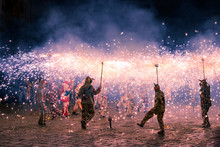 Correfoc Performance By The Devils Or Diables In Catalonia, Spain