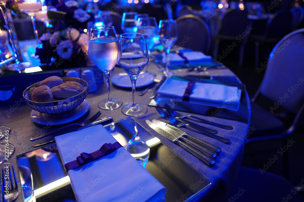 Fototapety, obrazy: Wedding hall or other function facility set for fine dining
