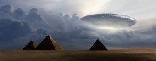 Flying  Saucer On Pyramids - 3D Rendering