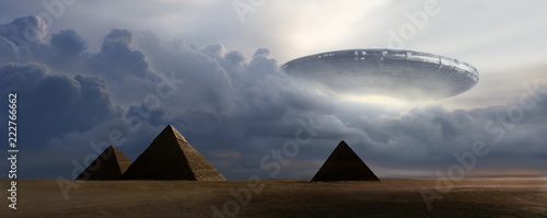 Leinwand Poster Flying  saucer on pyramids - 3D rendering
