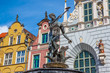 Famous Neptune fountain. Gdansk, Poland