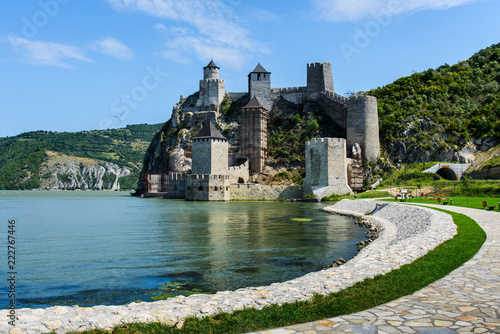 Golubac fortress on Danube river in Serbia Fotobehang
