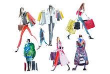 Hand Drawn Watercolor People With Shopping Bags. Fashion, Sale