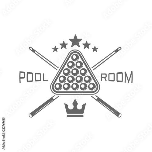 Cuadros en Lienzo Pool room, billiard club monochrome vector emblems