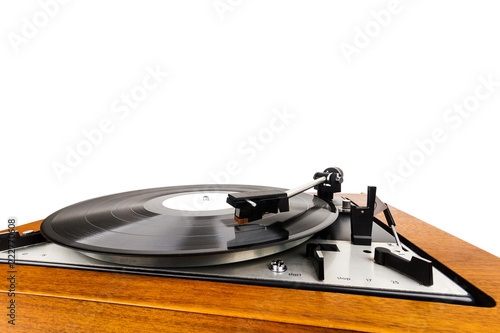 Fotografie, Obraz  Close up of vintage turntable vinyl record player isolated on white